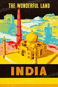 1950s See India The Wonderful Land Vintage Style Travel Poster - 24x36