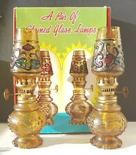Vintage Pair Antique 1960s Miniature Oil Lamps Brass Stained Glass Art Deco Box
