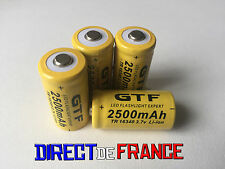 4 PILES ACCUS RECHARGEABLE CR123A 16340 3.7V 2500Mah GTF Li-ion BATTERIES