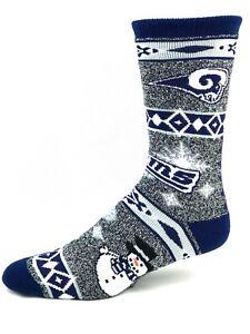 Los Angeles Rams Football Navy & Gray Marbled Snowman Holiday Deuce Crew Socks