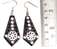 A Pair of Black & Silver Organic Danglers Ebony Wooden Fashion Earrings SEW_1090
