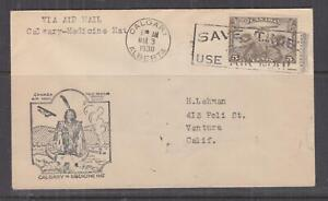 CANADA, 1930 First Flight cover, Calgary to Medicine Hat, 5c. Air.