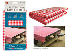 "Vintage Red Checkered Pattern Vinyl Tablecloth Heavy Duty 54"" x 72"" Sewn Edges"