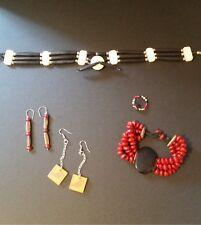 boho jewelry lot wood beads tribal jewelry lot black red beads native jewelry