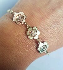3 tone Solid 14k yellow Gold Flower chain Bracelet 7 inches long