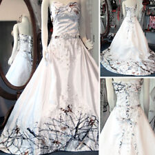 White Camo Wedding Dresses Long Bridal Gowns Camouflage Sequins Appliques Custom