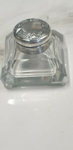 antique art deco french sterling silver lid square glass inkwell