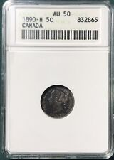 1890-H Canada 5 Cents KM #2 ANACS AU 50 Old-Style White Holder Silver Coin