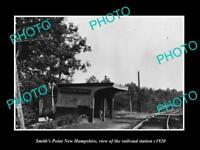 OLD LARGE HISTORIC PHOTO OF SMITHS POINT NEW HAMPSHIRE RAILROAD STATION c1920