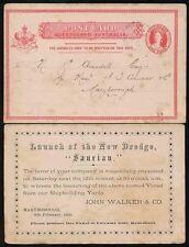 Australia-Queensland barco de tarjeta de papelería lanzamiento 1881 Draga saurios