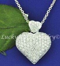 18k Solid White gold Natural Diamond Double heart pendant 3.00 ct Pave made USA