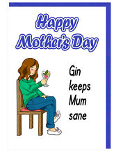 Funny Gin and Tonic Themed Mum Stepmum Mothers Day Card - Gin Keeps Mum Sane