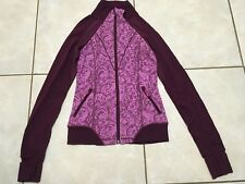 EUC girls 10 IVIVVA by LULULEMON burgundy pink ROSE PERFECT PRACTICE jacket zip