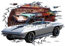 1964 Silver Chevy Corvette b Custom Hot Rod Diner T-Shirt 64 Muscle Car Tees