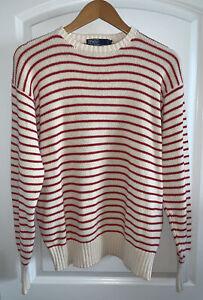 Vintage 90's Men's Polo Ralph Lauren Striped Cotton Crewneck Sweater Nautical M