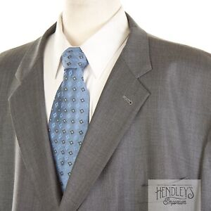 JOSEPH ABBOUD Sport Coat 60 R in Ash Gray Nailhead 130s LORO PIANA Wool Dbl-Vent
