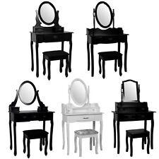 Nishano Dressing Table Drawers Stool Mirror Bedroom Makeup Desk Black White