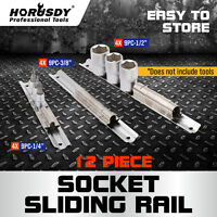 "12pc 1/4"" 3/8"" 1/2"" Socket Holder Rail Rack Mount Steel Drawer Tray Organizer"