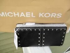 NEW MICHAEL KORS ASTOR TOP ZIP CONTINENTAL BLACK LEATHER  STUDDED WALLET.