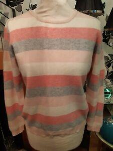 Women's Lochmere 100% cashmere  striped crew neck Jumper Size M