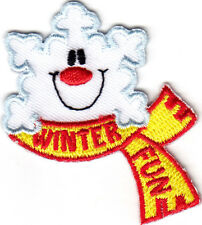 """WINTER FUN"" - IRON ON EMBROIDERED PATCH - SNOW - GAMES - SLEDDING - SKATING"