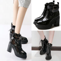 WOmen's Block Heels Platform Round toe Patent Leather Lace Up Buckle Ankle Boots