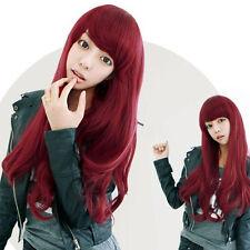 Rouge Longue Perruque Wig Plein Cheveux Bouclé Femme Animé Cosplay 80cm Mode