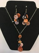 Agate and Smoky Quartz Gemstones 925 SS Gold Plated Necklace & Earrings SET