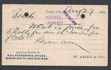 1887 W AMES CO MANUFACTURER RAIL SPIKES,SCREW BOLTS & BAR IRON, JERSEY CITY NJ
