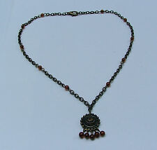 """SMALL NEAT DARK GOLD PLATE PENDANT NECKLACE CHAIN AND BROWN BEADS 16"""""""