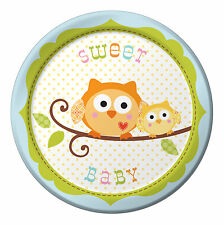 8 x Happi Tree Owl Paper Plates Sweet Baby Boy 18cm 1st Birthday baby Shower
