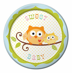 8 x Happi Tree Owl Paper Plates Sweet Baby Boy 18cm 1st Birthday baby Shower