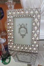 "Olivia Riegel Pegeen Crystal & Pearl 4"" x 6"" Photo Frame  NEW in Box!"