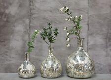 Antique Silver Mercury Glass Vase. Small size. Leaf Print. Latika Nkuku