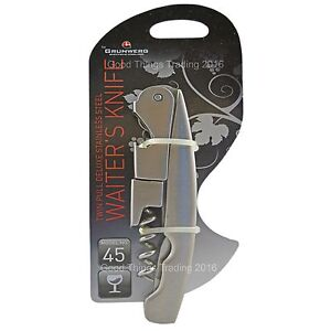 Corkscrew Twin Pull Waiters Friend Wine Bottle Opener Stainless Steel Grunwerg