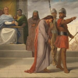 Dipinto antico quadro olio su tela religioso 800 XIX secolo con cornice