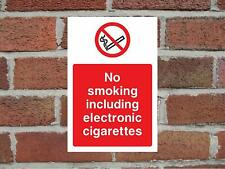 No Smoking Including Electronic Cigarettes Aluminium Safety Sign 200mm x 135mm.