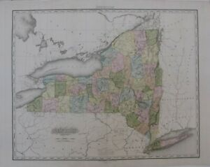Original 1825 Tanner Engraved Map NEW YORK Hand Color Post Roads Erie Canal