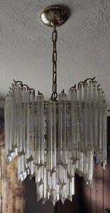 MURANO Italy Venini Camer Crystal Glass Quatro Punta Chandelier Brass MCM
