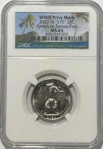 2020 W SAMOA NATIONAL PARK NGC MS65 V75 WWII PRIVY QUARTER 25c BAT COIN