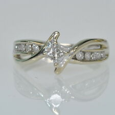 & Round Diamond Right Hand Promise Ring Ladies 10k White Gold 1/3 Cttw Princess