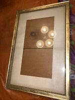 """Antique Large Gold Picture Frame Matted!13 1/2""""x7""""Wood Back! 20""""x 13 1/2""""outside"""