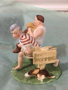 Norman Rockwell NO SWIMMING Old Buddies By Gorham Fine Bone China Figurine #860