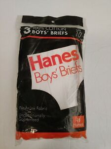 1992 vintage Hanes 3 Boys' Briefs Nos Size 10 deadstock