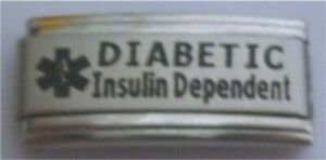 Italian Charms DIABETIC Insulin Dependent Medical Alert L116