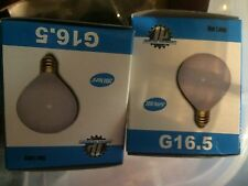 lot (2) GE 25w G16.5 Small White 2-inch Globe Light Bulb Candelabra E12 Base G16
