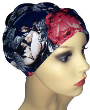 CHEMO HEADWEAR FOR HAIRLOSS. JERSEY BEANIE HAT. INDOOR OUTDOOR WEAR. BLUE/ROSES