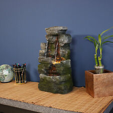 Sunnydaze Towering Cave Waterfall Indoor Tabletop Fountain Feature w/  LED - 14""