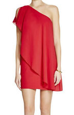 AQUA ~ Red Chiffon Pleated One Shoulder Draped Overlay Party Dress 0 NEW $168