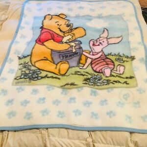 Vintage Disney Winnie the Pooh&Piglet Plush Baby crib Blanket furry soft flaws